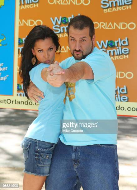 Television personality Melissa Rycroft and singer/actor Joey Fatone attend Smile Train's World Smile Search in Madison Square Park on April 23 2010...