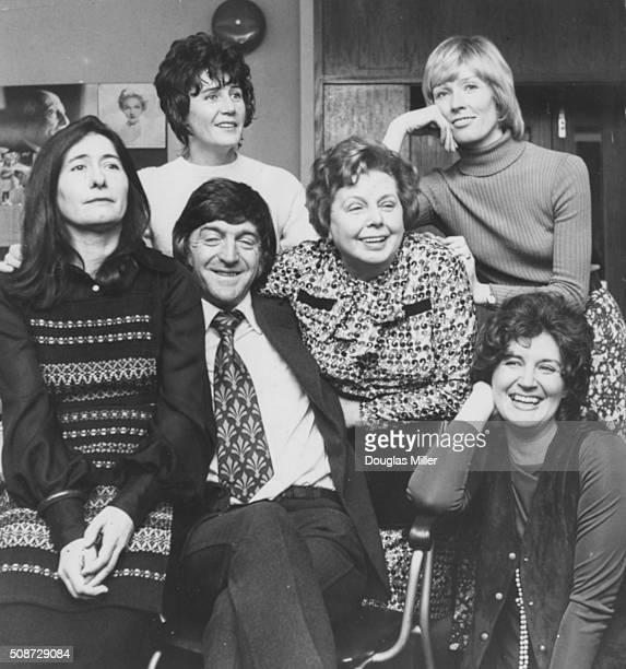 Television personality Michael Parkinson pictured with the new presenters of the Thames Television show 'Tea Break' Mavis Nicholson Rita Dando Sylvia...