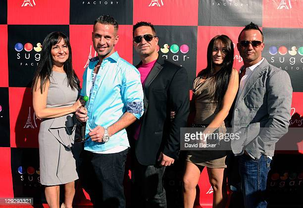 Television personality Mike 'The Situation' Sorrentino arrives with his family mother Linda Sorrentino brother Marc Sorrentino sister Melissa...