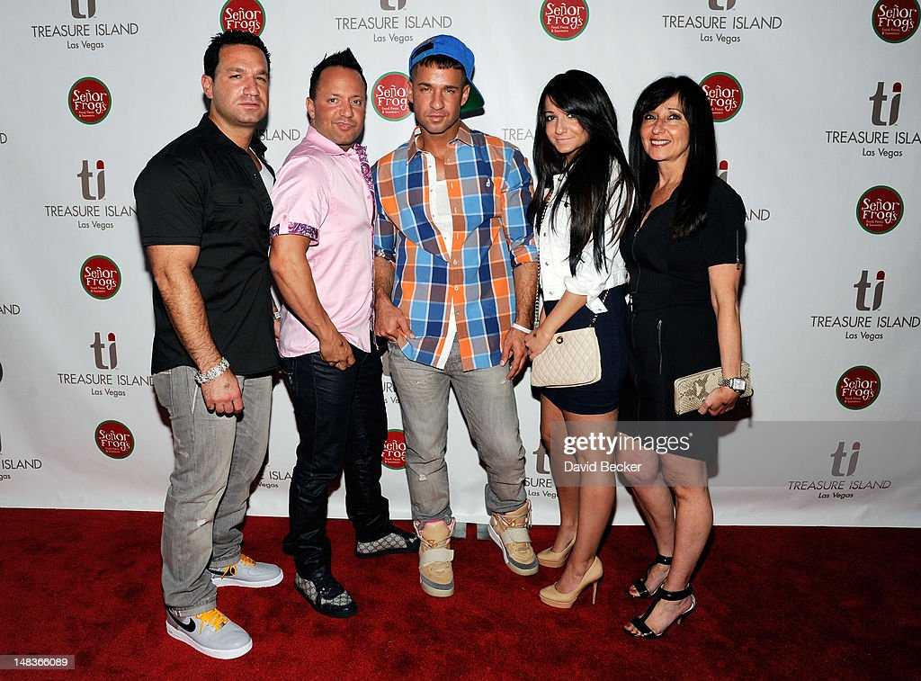 Television personality Mike 'The Situation' Sorrentino (C) arrives with his family (L-R) Marc Sorrentino, Frankie Jr. Sorrentino, Melissa Sorrentino and Linda Sorrentino to celebrate his birthday at Senor Frog's Las Vegas at the Treasure Island Hotel & Casino on July 14, 2012 in Las Vegas, Nevada.