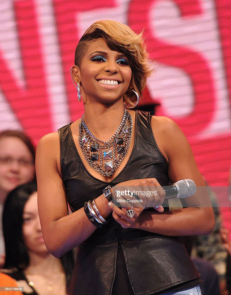 Television personality Miss Mykie co-hosts BET's 106th & Park show at 106 & Park Studio on March 20, 2013 in New York City.