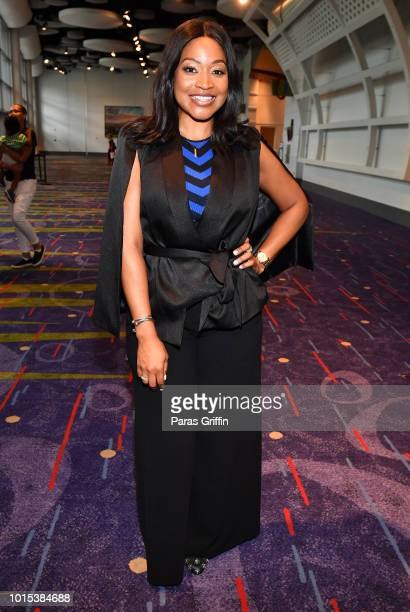 Television personality Monyetta Shaw attends 2018 Black Women's Expo at Georgia International Convention Center on August 11, 2018 in College Park,...