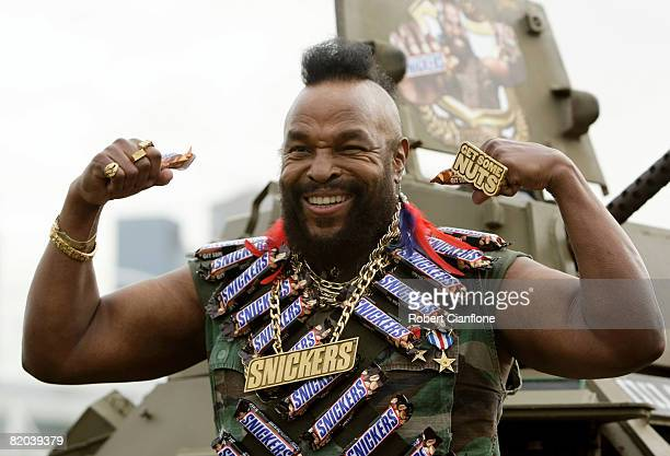 Television personality Mr T plays up to the media during a promotional tour for Snickers at the Olympic Park Precinct on July 23 2008 in Melbourne...