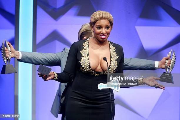 Television Personality NeNe Leakes and Derek Hough speak onstage during the 27th Annual GLAAD Media Awards at the Beverly Hilton Hotel on April 2...