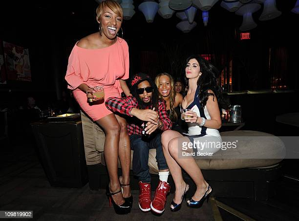 Television personality NeNe Leakes recording artist Lil' Jon television personality Chanita Foster and model Hope Dworaczyk attend the cast viewing...
