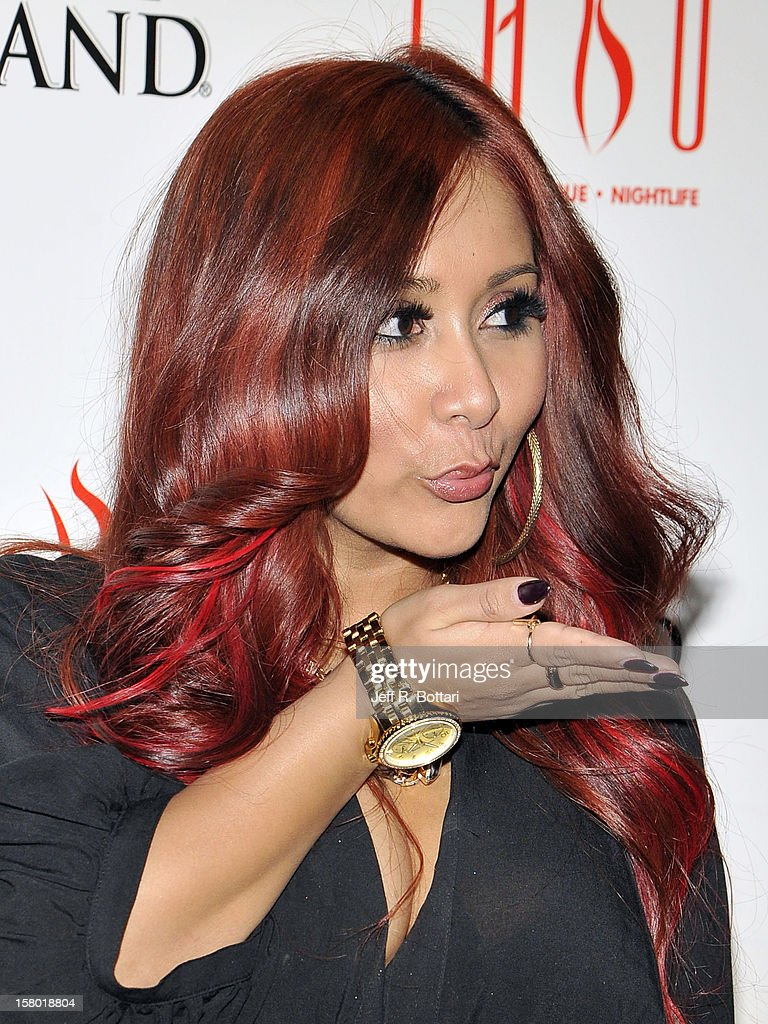 Television personality Nicole 'Snooki' Polizzi arrives at the Tabu Ultra Lounge at the MGM Grand Hotel/Casino to host a post-fight party on December 9, 2012 in Las Vegas, Nevada.
