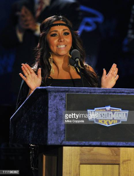 Television personality Nicole Snooki Polizzi attends the WrestleMania XXVII press conference at Hard Rock Cafe New York on March 30 2011 in New York...