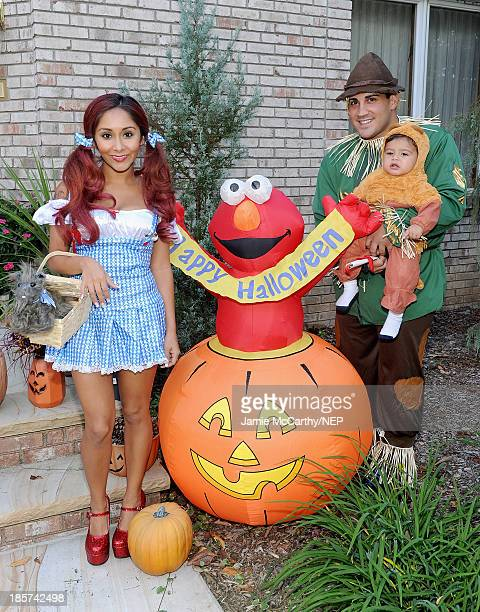 Television personality Nicole 'Snooki' Polizzi Jionni Lavalle and their son Lorenzo Lavalle celebrate Halloween in their costumes from Rubies Costume...