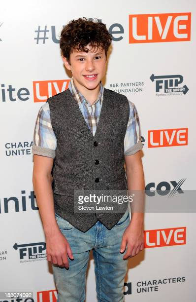 Television personality Nolan Gould arrives at 'UniteLIVE The Concert to Rock Out Bullying' at the Thomas Mack Center on October 3 2013 in Las Vegas...