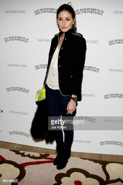 """Television personality Olivia Palermo attends the premiere of """"The Imaginarium of Doctor Parnassus"""" at the Crosby Street Hotel on December 7, 2009 in..."""