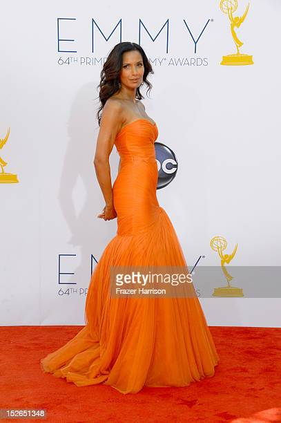 Television personality Padma Lakshmi arrives at the 64th Annual Primetime Emmy Awards at Nokia Theatre LA Live on September 23 2012 in Los Angeles...