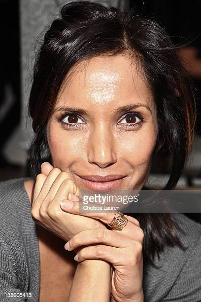 Television personality Padma Lakshmi attends the Costello Tagliapiertra fall 2012 fashion show during Mercedes-Benz Fashion Week at Milk Studios on...