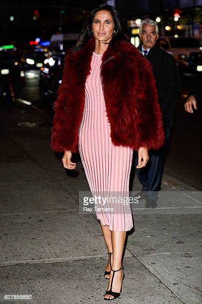 Television personality Padma Lakshmi enters 'The Late Show With Stephen Colbert' taping at the Ed Sullivan Theater on December 05 2016 in New York...
