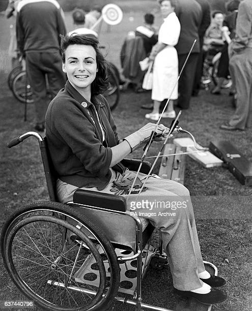 Television personality Pamela Russell competing in the Archery tournament