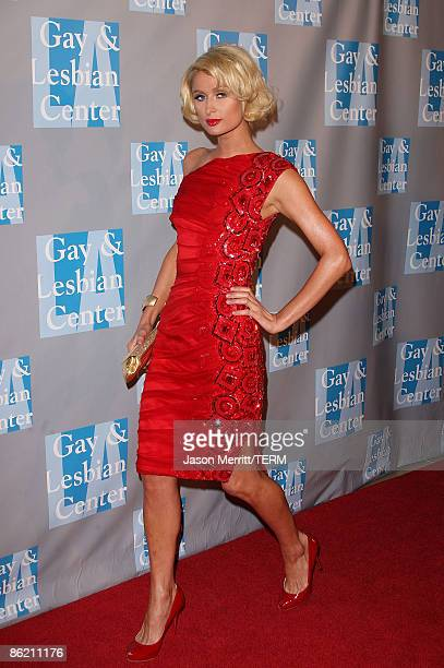 Television personality Paris Hilton arrives at An Evening With Women Celebrating Art Music Equality at The Beverly Hilton Hotel on April 24 2009 in...