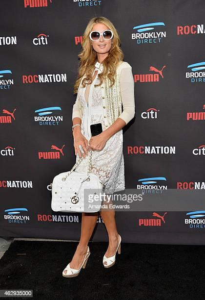 Television personality Paris Hilton arrives at the Roc Nation Grammy Brunch 2015 on February 7 2015 in Beverly Hills California