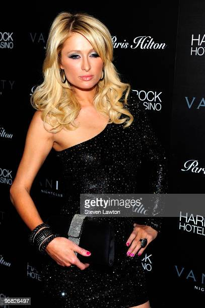 Television personality Paris Hilton arrives to debut her new web site 'ParisHiltoncom' at Vanity Nightclub At The Hard Rock Hotel And Casino on...