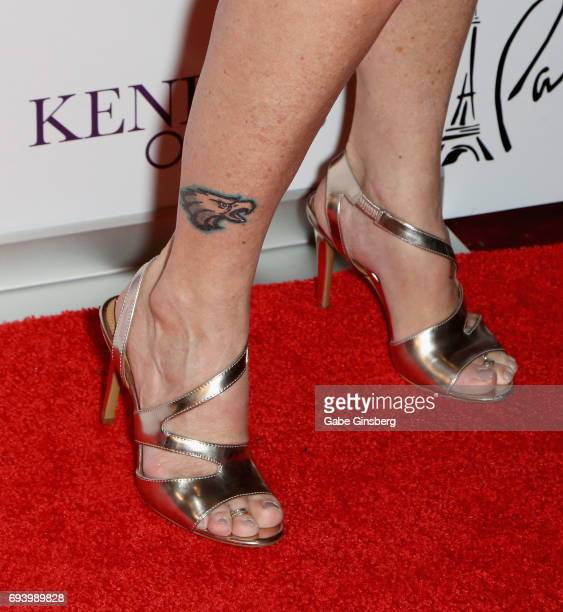 Television personality Patti Wilkinson shoes tattoo detail attends the premiere of Sex Tips for Straight Women from a Gay Man at the Paris Las Vegas...