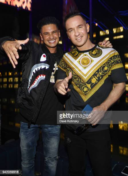 "Television personality Paul 'Pauly D' DelVecchio and Mike Sorrentino attend MTV's ""Jersey Shore Family Vacation"" New York premiere party at PHD at..."