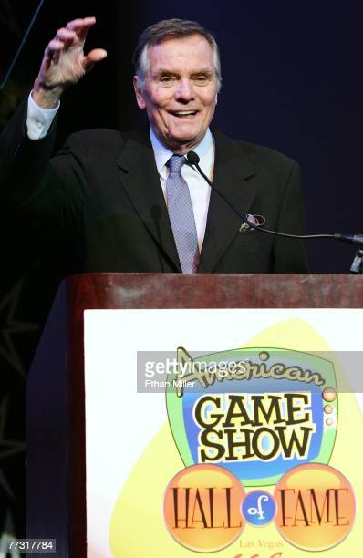 Television personality Peter Marshall speaks as he is inducted into the American TV Game Show Hall of Fame at the Las Vegas Hilton October 13 2007 in...