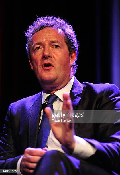 Television Personality Piers Morgan on stage at BritWeek 2012's 'An Evening With Piers Morgan In Conversation With Jackie Collins' benefiting...