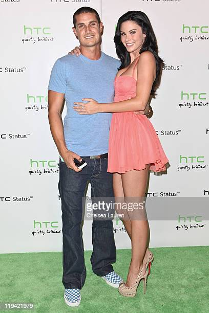 Television personality / playmate Jayde Nicole and boyfriend Josh Berman arrive at HTC Status Social launch event at Paramount Studios on July 19...