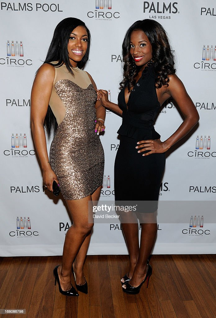 Television personality Porsha Stewart (L) and actress Shamea Morton arrive at the Fight Night after party at the Palms Casino Resort on May 4, 2013 in Las Vegas, Nevada.