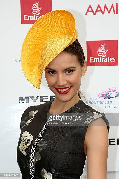 Television personality Rachael Finch poses at the 2013 Melbourne Cup Carnival Launch at Flemington Racecourse on October 28 2013 in Melbourne...