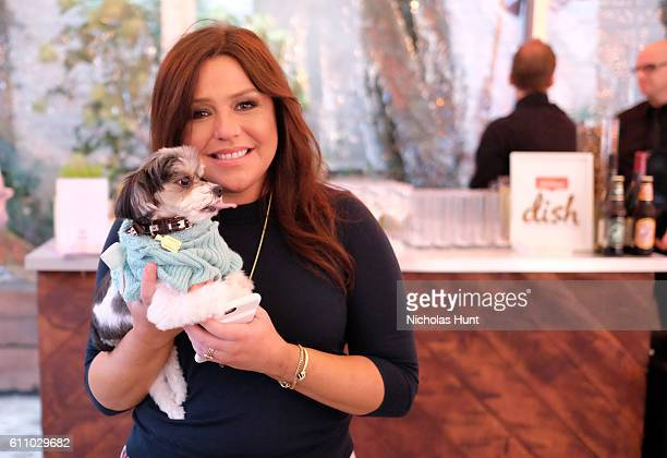 Television personality Rachael Ray and Tinkerbelle attend the launch and celebration of Rachael Ray's Nutrish DISH with a puppy party on September...