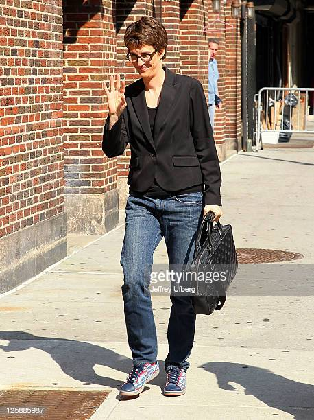 Television personality Rachel Maddow arrives at Late Show With David Letterman at the Ed Sullivan Theater on June 8 2011 in New York City