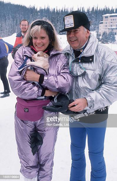 Television Personality Robin Leach and wife Judith Ledford attend Banff Celebrity Sports Invitational on January 18 1990 at Lake Louise Resort in...