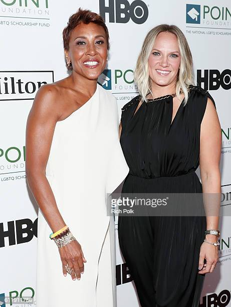 Television personality Robin Roberts and Amber Laign arrive at Point Foundation's Point Honors gala at The Beverly Hilton Hotel on October 1 2016 in...