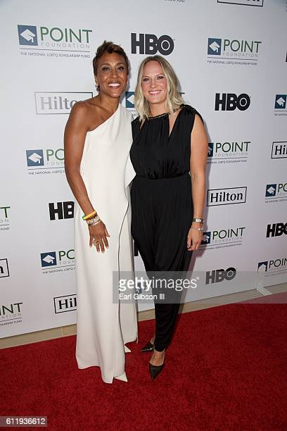 Television personality Robin Roberts and Amber Laign attend the 2016 Point Honors Los Angeles Gala at The Beverly Hilton Hotel on October 1 2016 in...