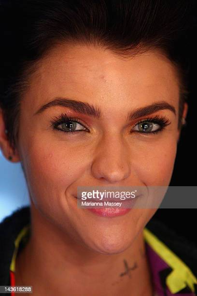Television personality Ruby Rose has her makeup done backstage ahead of the Michael Lo Sordo show on day two of MercedesBenz Fashion Week Australia...
