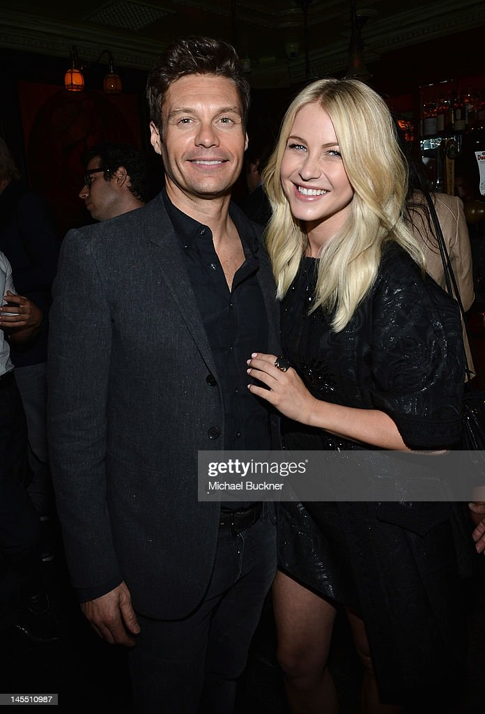 Television personality Ryan Seacrest (L) and actress Julianne Hough attend Glamour's celebration of July Cover Star Julianne Hough at The Pikey on May 31, 2012 in Los Angeles, California.