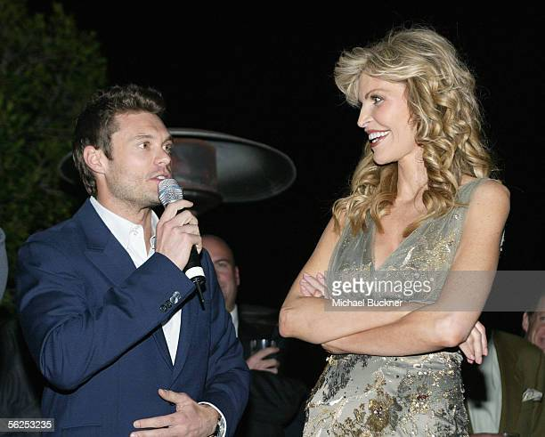 Television personality Ryan Seacrest and singer Shawn King attend the Shawn King CD listening series release of 'In My Own Backyard' at Skybar on...