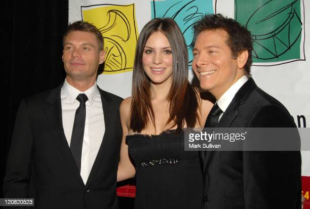 Television personality Ryan Seacrest, singer Katharine McPhee and composer Michael Feinstein attend The Young Musicians Foundation 53rd Annual Gala...