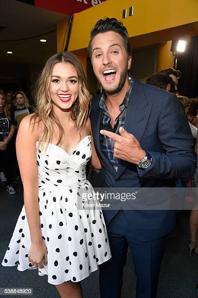 Television personality Sadie Robertson and musician Luke Bryan attend the 2016 CMT Music awards at the Bridgestone Arena on June 8 2016 in Nashville...