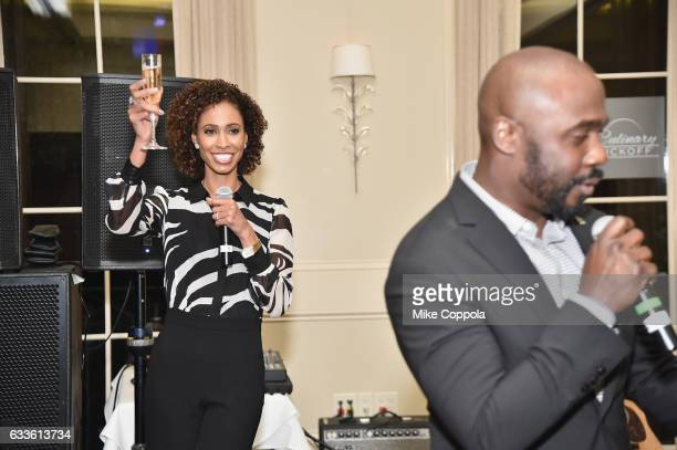 Television personality Sage Steele and former NFL player Marshall Faulk speak during the #Culinary Kickoff at Brennan's Restaurant on February 2 2017...