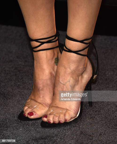Television personality Scheana Shay shoe detail arrives at the premiere of Universal Pictures' 'Pitch Perfect 3' on December 12 2017 in Hollywood...