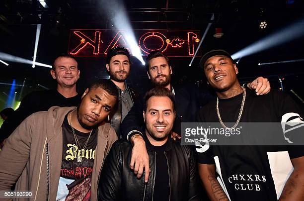 Television personality Scott Disick and Eli Pacino appear with friends at 1 OAK Nightclub at The Mirage Hotel Casino on January 15 2016 in Las Vegas...