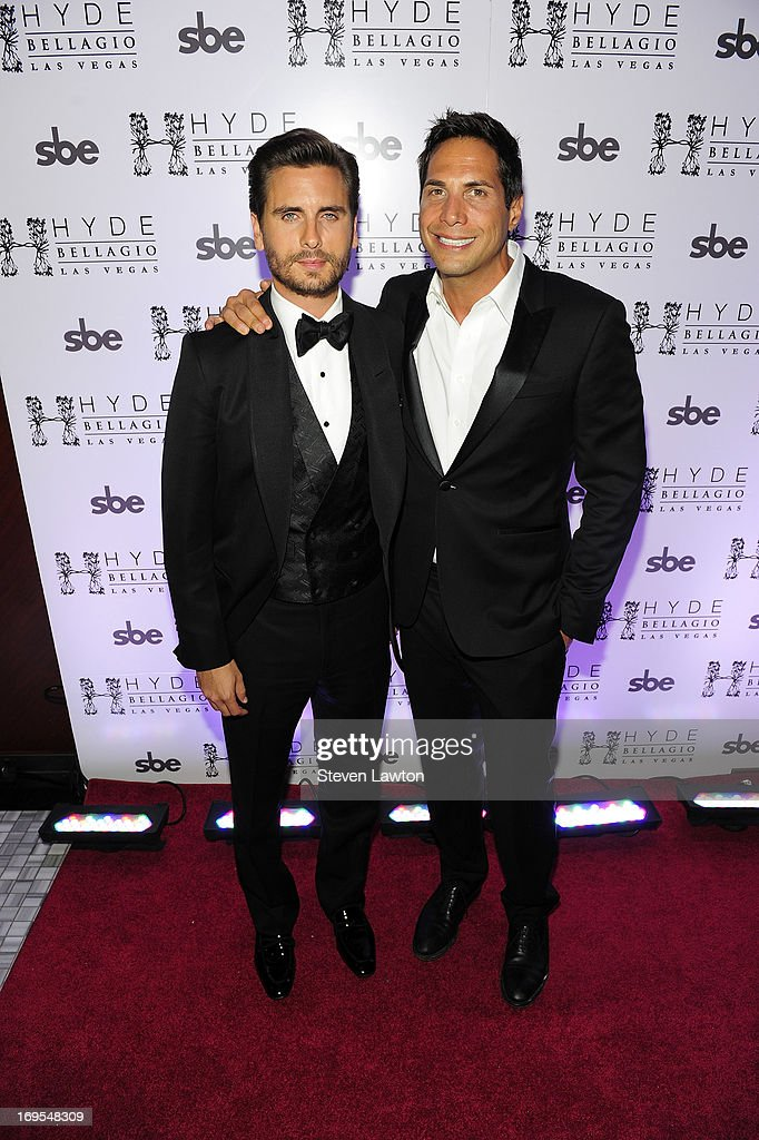 Television personality Scott Disick (L) and film producer Joe Francis arrive at Scott's 30th birthday bash at Hyde Bellagio at the Bellagio on May 26, 2013 in Las Vegas, Nevada.