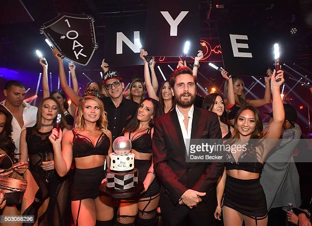 Television personality Scott Disick hosts a New Year's Eve celebration at 1 OAK Nightclub at The Mirage Hotel Casino on December 31 2015 in Las Vegas...