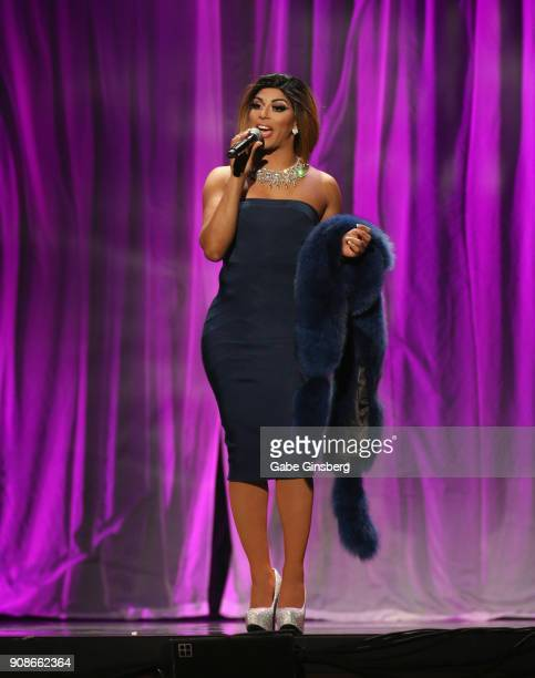 Television personality Shangela Laquifa Wadley hosts the 2018 GayVN Awards show at The Joint inside the Hard Rock Hotel Casino on January 21 2018 in...