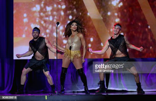 Television personality Shangela Laquifa Wadley performs during the 2018 GayVN Awards show at The Joint inside the Hard Rock Hotel Casino on January...