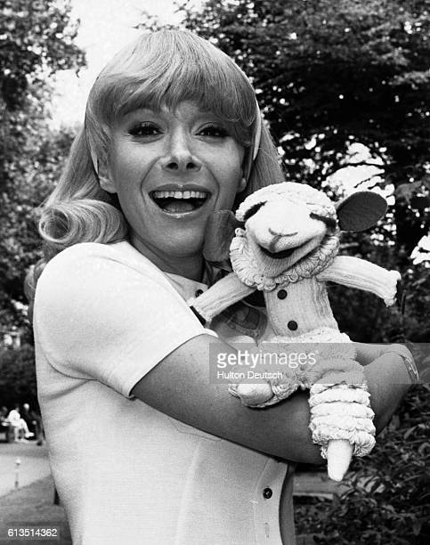 Television personality Shari Lewish with her hand puppet Lamb Chop in London UK 1970