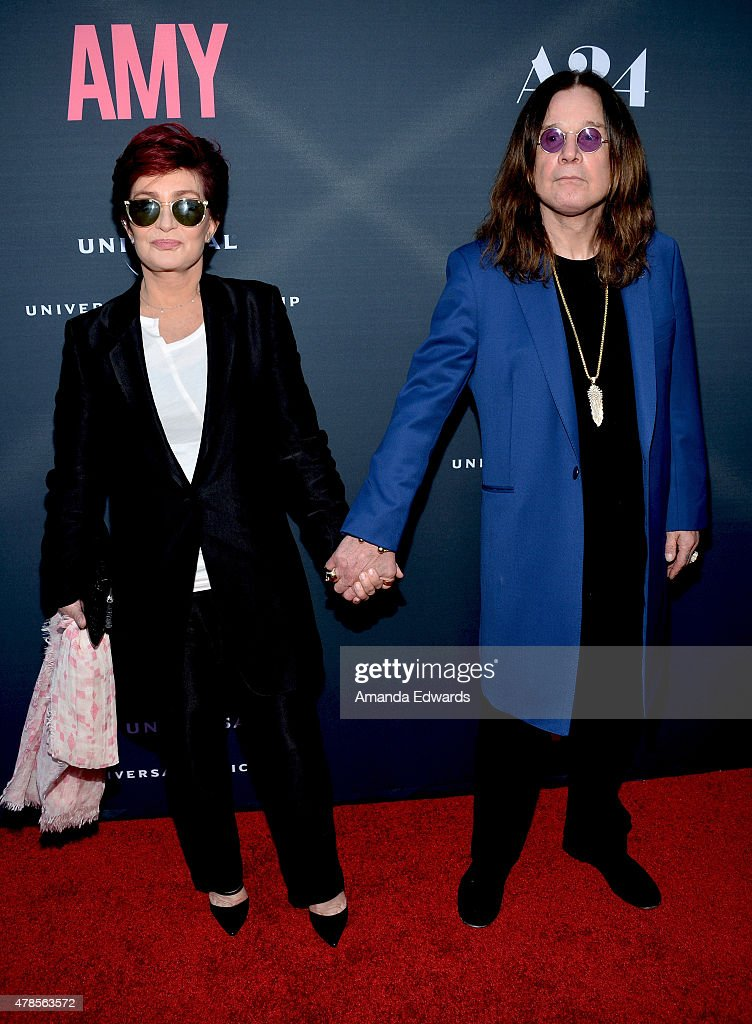Television personality Sharon Osbourne (L) and musician Ozzy Osbourne arrive at the premiere of A24 Films 'Amy' at the ArcLight Cinemas on June 25, 2015 in Hollywood, California.