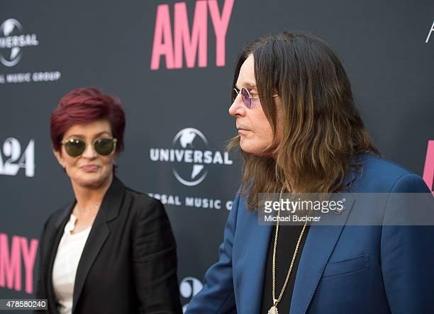 Television personality Sharon Osbourne and musician Ozzy Osbourne arrive at the premiere of A24 Films 'Amy' at ArcLight Cinemas on June 25 2015 in...