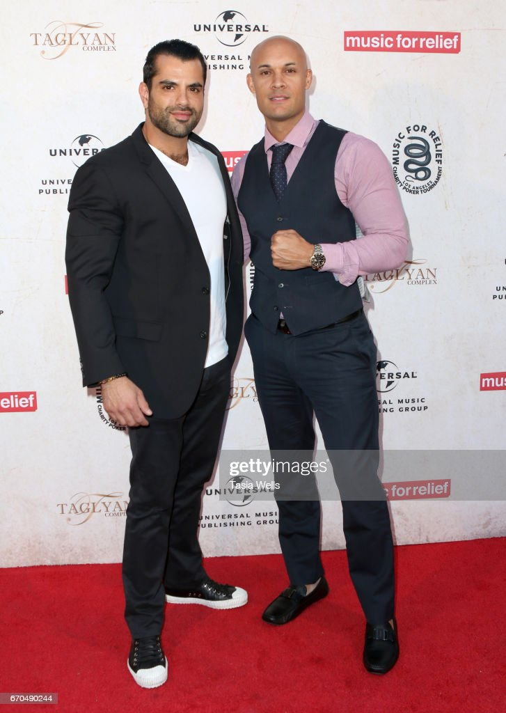 Television personality Shervin Roohparvar (L) and former MMA fighter and Founder and CEO at SMASH Global Steve Orosco attend Linkin Park's Music for Relief - Charity Poker Tournament at Taglyan Cultural Complex on April 19, 2017 in Hollywood, California.