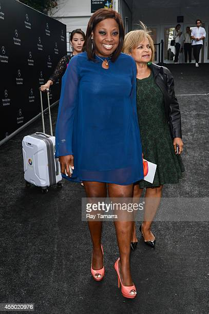 Television personality Star Jones leaves the MercedesBenz Fashion Week at Lincoln Center for the Performing Arts on September 8 2014 in New York City